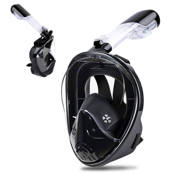 Full-Face GoPro Compatible Snorkel Mask-Black-L/XL-