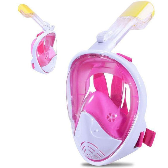 Full-Face GoPro Compatible Snorkel Mask-Pink-L/XL-