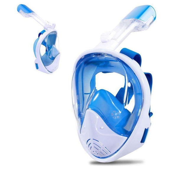 Full-Face GoPro Compatible Snorkel Mask-Blue-L/XL-