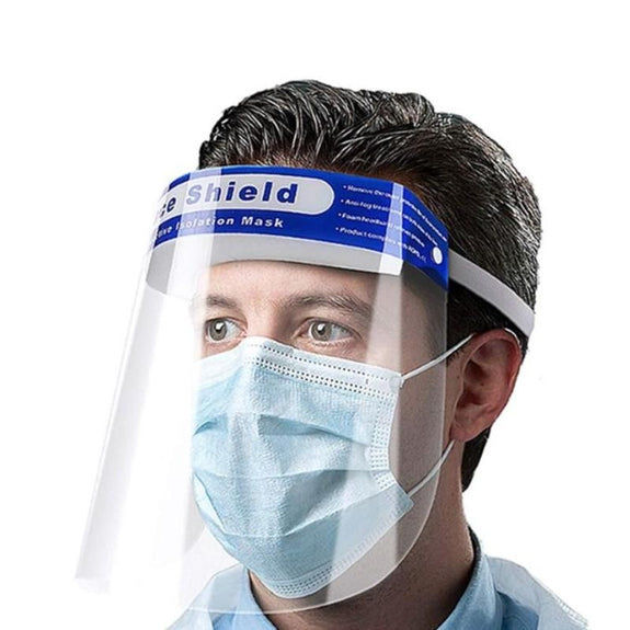 Full Face Shield PPE Protector Mask in Clear with Elastic Head Band - 1, 3, 5, 10, 20 Pack-10 Pack-