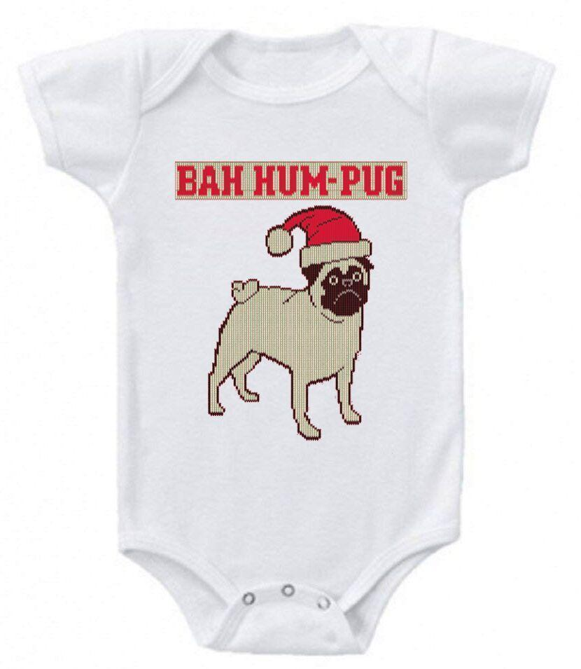 Daily Steals-Funny Christmas Sayings Bodysuit Romper-Toddlers and Babies-0-3 Months-Bah Humgpug Ugly Christmas Sweater-