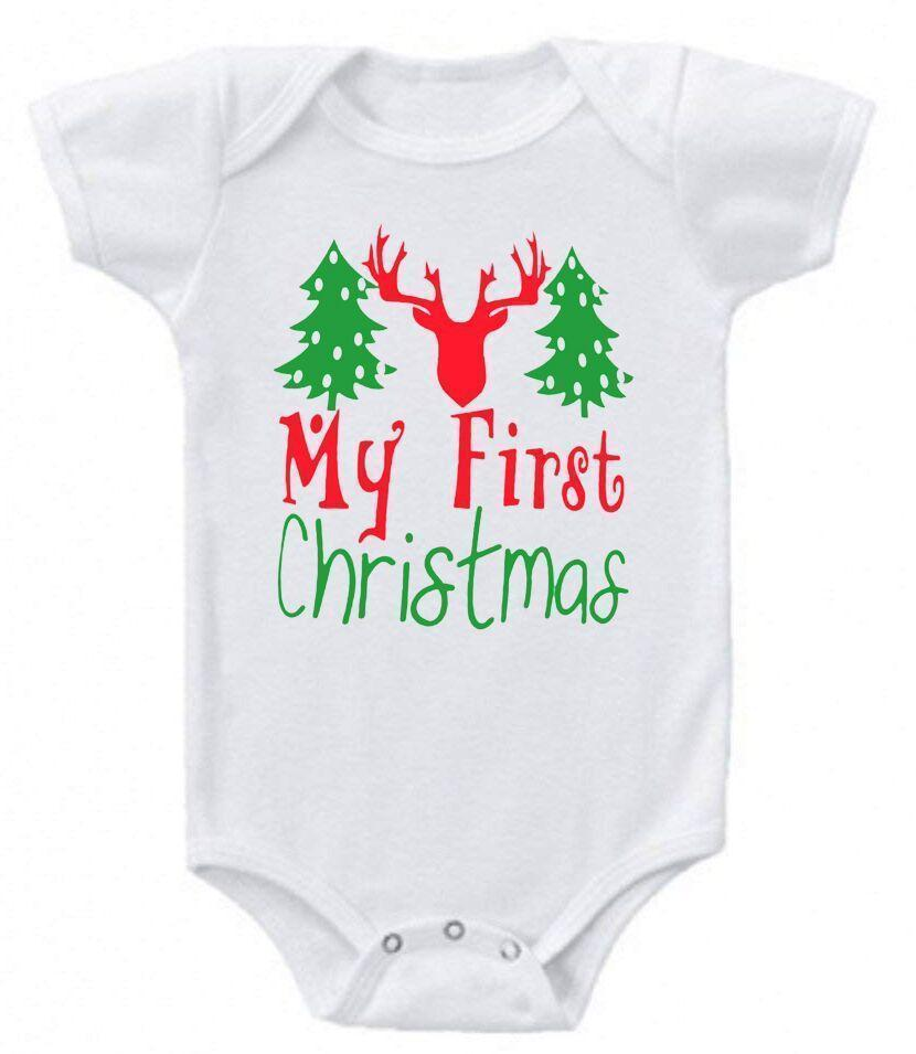 Daily Steals-Funny Christmas Sayings Bodysuit Romper-Toddlers and Babies-0-3 Months-My First Christmas Reindeer-