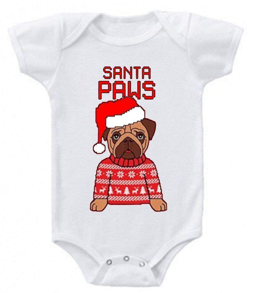 Daily Steals-Funny Christmas Sayings Bodysuit Romper-Toddlers and Babies-0-3 Months-Santa Paws-
