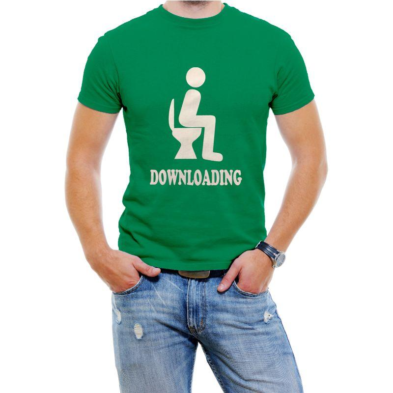 "Funny Men's T-Shirt ""Downloading""-Green-4XL-Daily Steals"