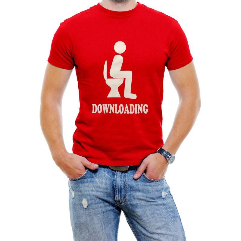 "Funny Men's T-Shirt ""Downloading""-Red-4XL-Daily Steals"