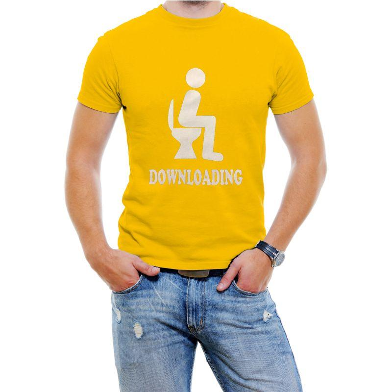 "Funny Men's T-Shirt ""Downloading""-Yellow-S-Daily Steals"