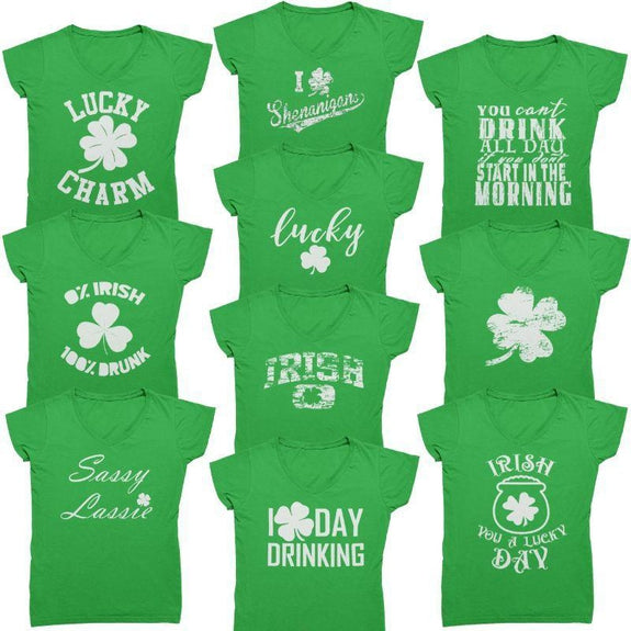 Funny Shirt Here to Paddy Patricks Day St Womens Boyfriend Fit T-Shirt