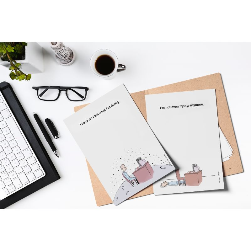 Funny Assorted Meme Notepads for Office - Set of 4 Memo Note Pads