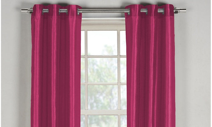 "Bali Faux Silk Grommet Window Panel Pairs-Fuchsia - 38"" x 84""-Daily Steals"