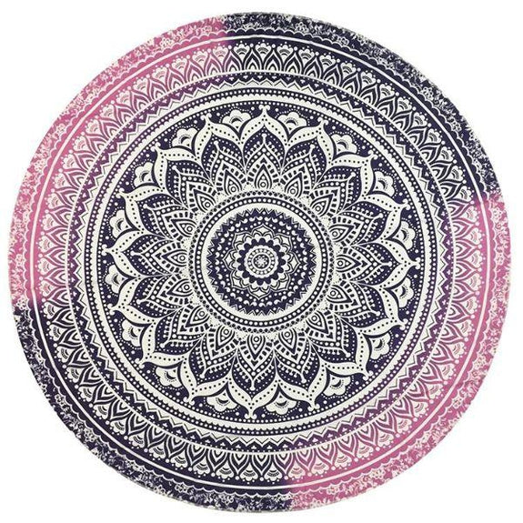 Daily Steals-Round Printed Beach Towel-Outdoors and Tactical-Pink & Purple Print-