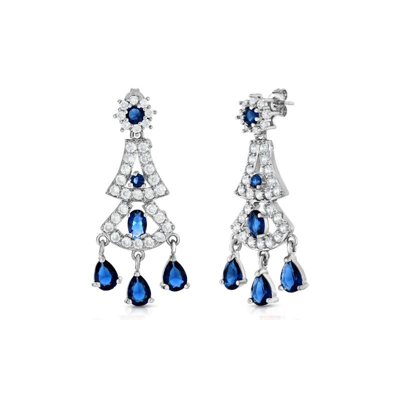 Created Blue Sapphire Hanging Chandelier Earrings-Daily Steals