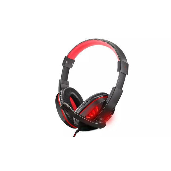 Gaming Headset, Stereo Noise, Over Ear Headphone, LED Light, 3.5mm Jack-Red-