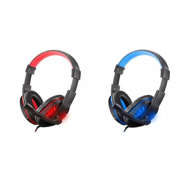 Gaming Headset, Stereo Noise, Over Ear Headphone, LED Light, 3.5mm Jack-Blue-