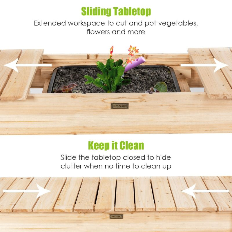 Garden Potting Bench Table with Sliding Tabletop Sink Shelves