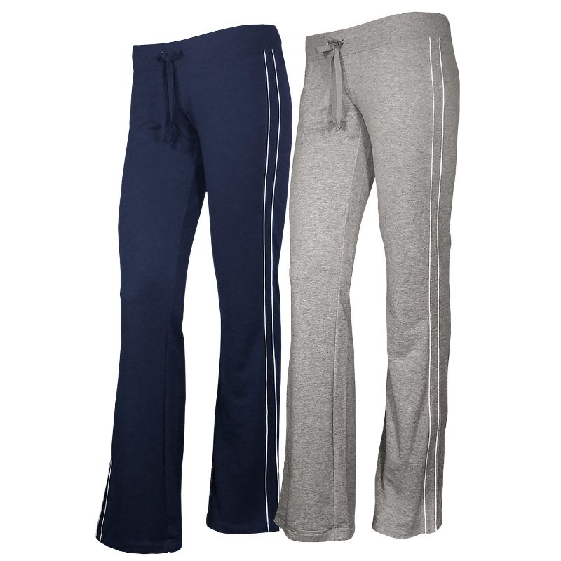 Women's French Terry Comfy Sweatpants - 1 or 2 Pack-Navy + Heather Grey-2 Pack-S-Daily Steals