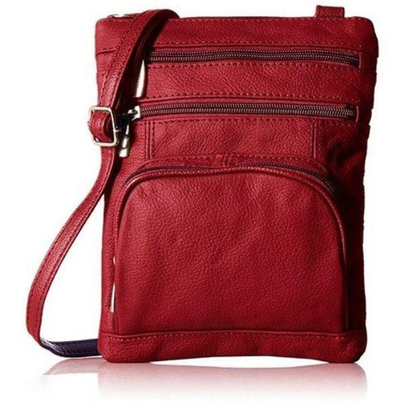 Daily Steals-Super Soft Leather Plus Size Crossbody Bag-Women's Accessories-Red-