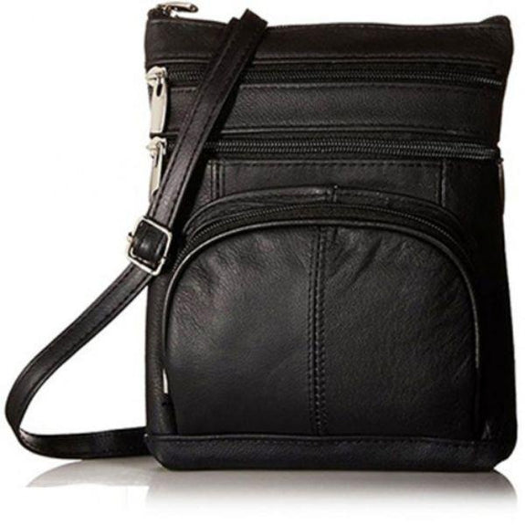 Daily Steals-Super Soft Leather Plus Size Crossbody Bag-Women's Accessories-Black-
