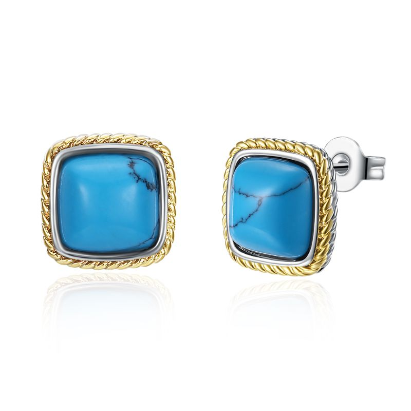 1.00 Ct Turquoise Stud Earrings Plated in 18K Gold-Greek Yellow Gold-Daily Steals