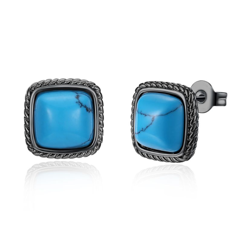1.00 Ct Turquoise Stud Earrings Plated in 18K Gold-Greek White Gold-Daily Steals