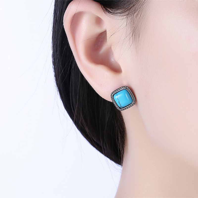 1.00 Ct Turquoise Stud Earrings Plated in 18K Gold-Daily Steals