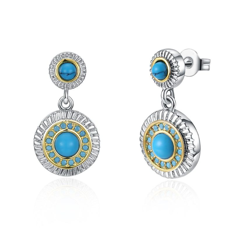 1.00 Ct Turquoise Stud Earrings Plated in 18K Gold-Standard White Gold-Daily Steals