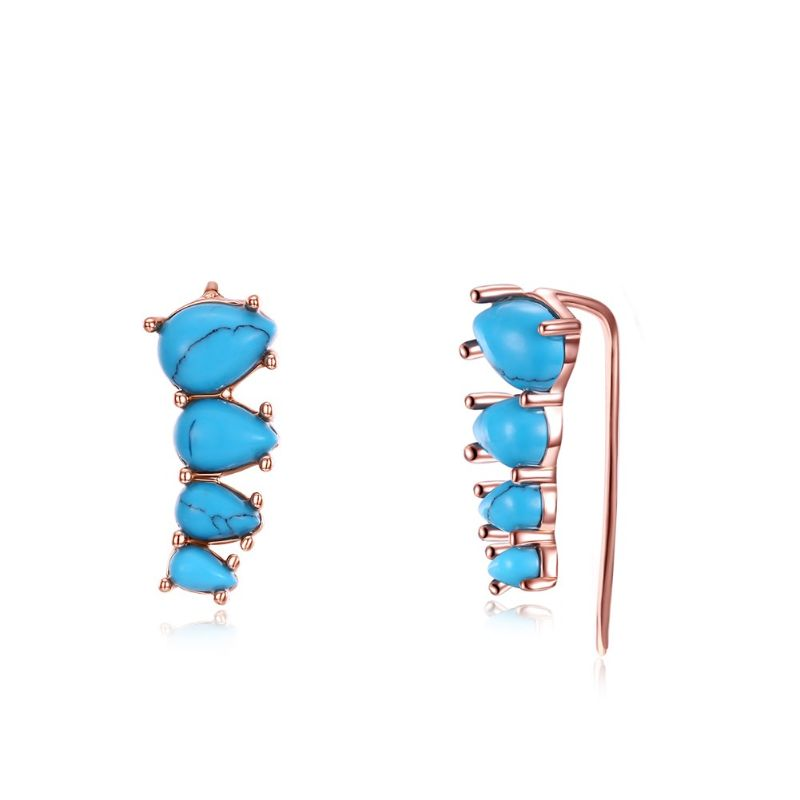 1.00 Ct Turquoise Stud Earrings Plated in 18K Gold-Threader Rose Gold-Daily Steals