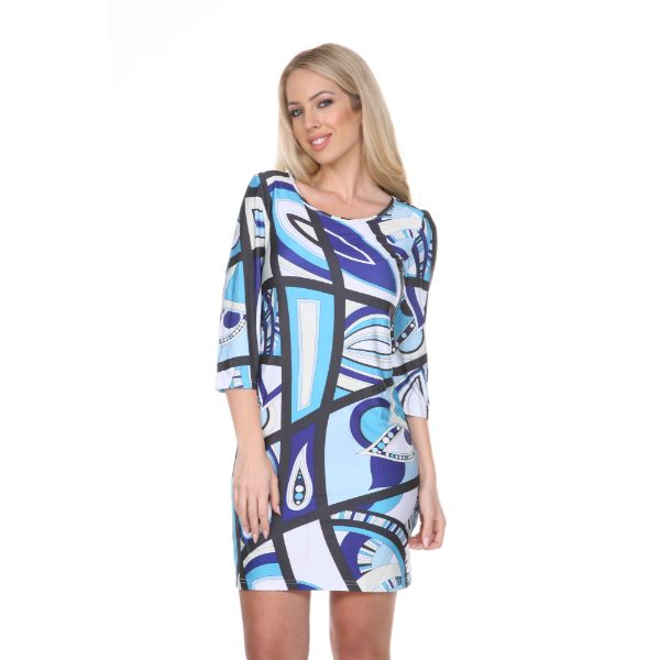 Genevieve Dress-Blue/White-S-Daily Steals