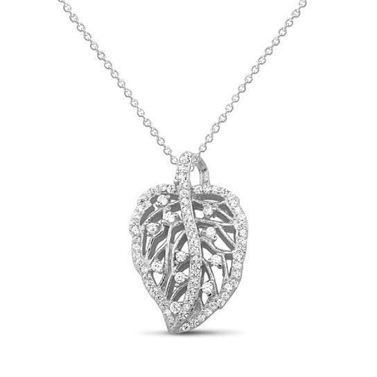 .925 Sterling Silver CZ Leaf Necklace - 2 Options Available-Silver-Daily Steals