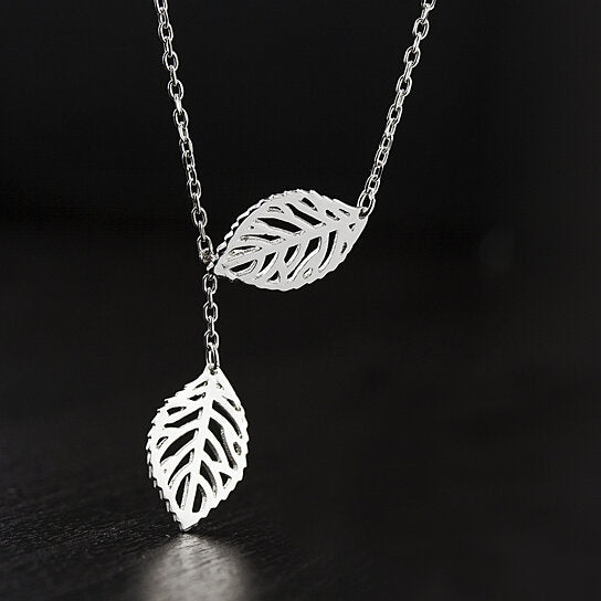 Sterling Silver 2 Piece Leaf Necklace-Daily Steals