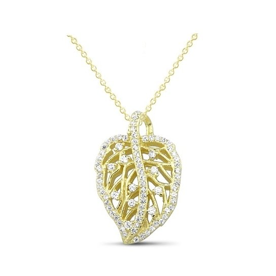 .925 Sterling Silver CZ Leaf Necklace - 2 Options Available-Gold-Daily Steals
