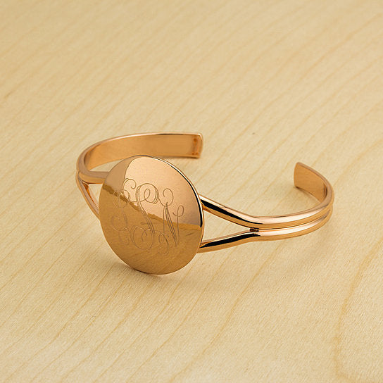 18kt Gold Plated Disc Bangle with FREE Engraving and Gift Box-Daily Steals