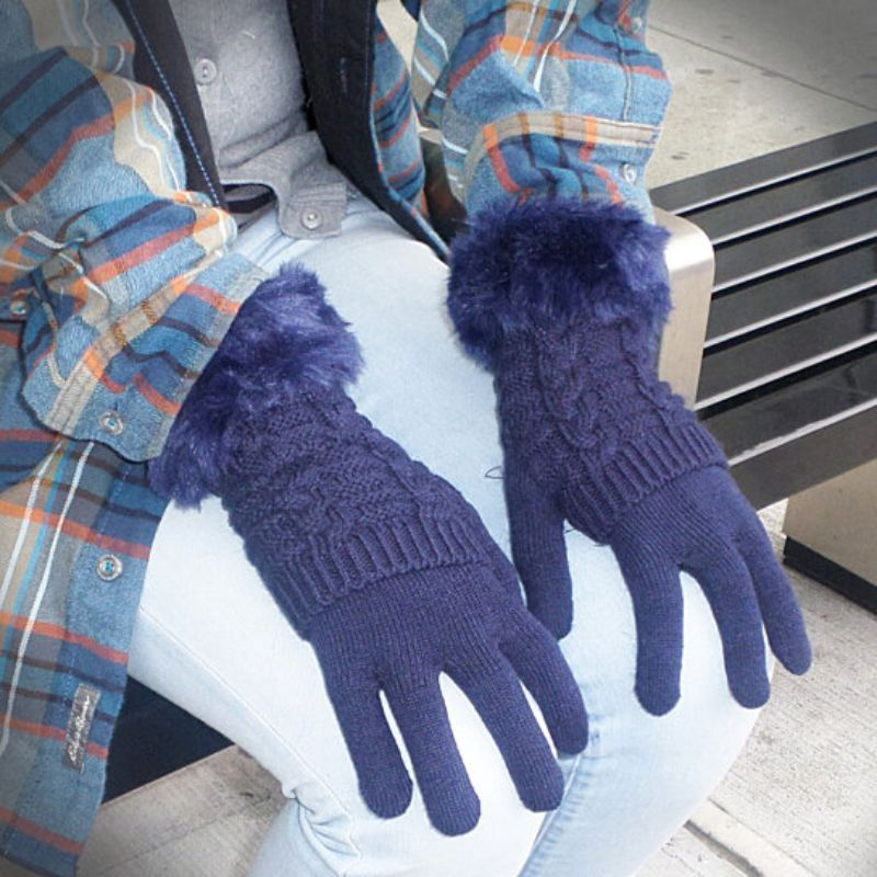 Women's Winter Gloves with Faux Fur Cuff-Blue-Daily Steals