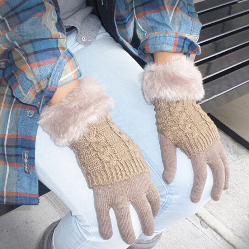 Women's Winter Gloves with Faux Fur Cuff-Brown-Daily Steals