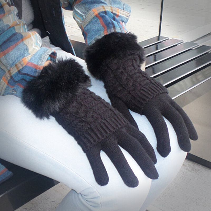 Women's Winter Gloves with Faux Fur Cuff-Grey-Daily Steals