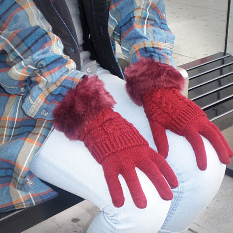 Women's Winter Gloves with Faux Fur Cuff-Red-Daily Steals