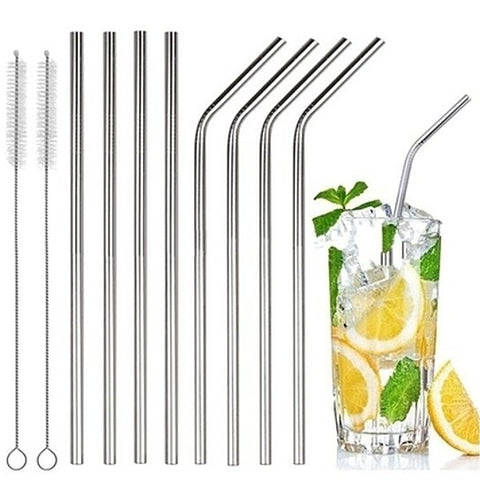 Daily Steals-[8-Pack] Stainless Steel Bent & Straight Drinking Straws-Kitchen Essentials-