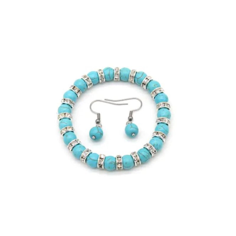 Genuine Turquoise Ball Bead Bracelet with Free Matching Earrings-Daily Steals