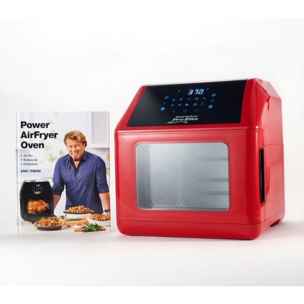 Power Air Fryer 10-in-1 Pro Elite Oven 6-qt with Cookbook-Red-Daily Steals