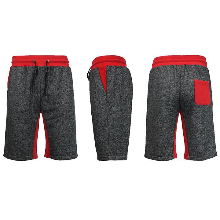 Men's Marled French Terry Shorts with Contrast Pockets-Heather Black/Red-Small-Daily Steals
