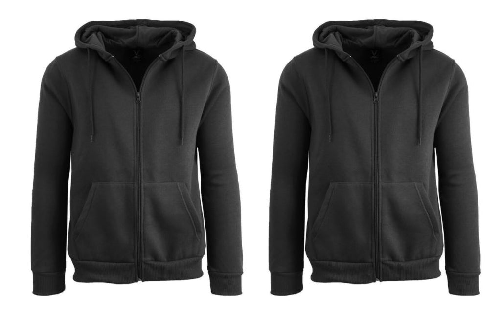 Men's Fleece Lined Zip-Up Hoodie with Full Zip Closure - 2 Pack-Black-Black-M-Daily Steals