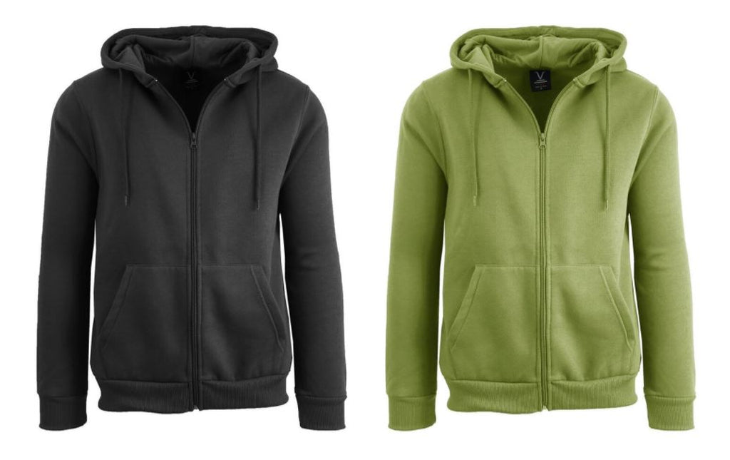 Men's Fleece Lined Zip-Up Hoodie with Full Zip Closure - 2 Pack-Black-Olive-M-Daily Steals