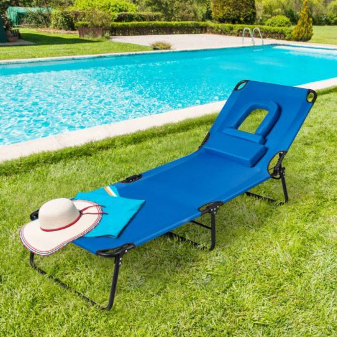 Folding Adjustable Outdoor Lounge Chair Recliner with Tanning Face Down Hole