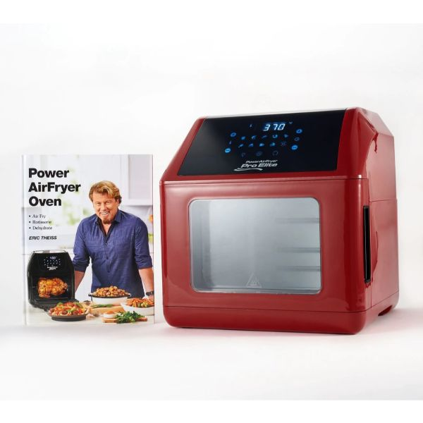 Power Air Fryer 10-in-1 Pro Elite Oven 6-qt with Cookbook-Dark Red-Daily Steals