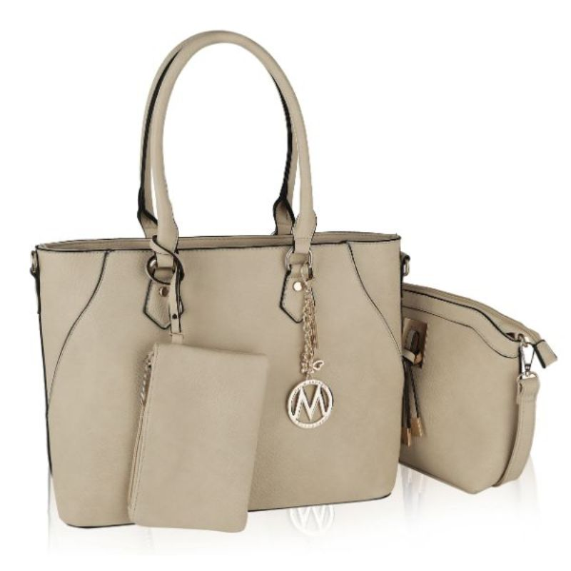 Gigi Tote Handbag with Matching Crossbody Bag and Wristlet by MKF-Beige-Daily Steals