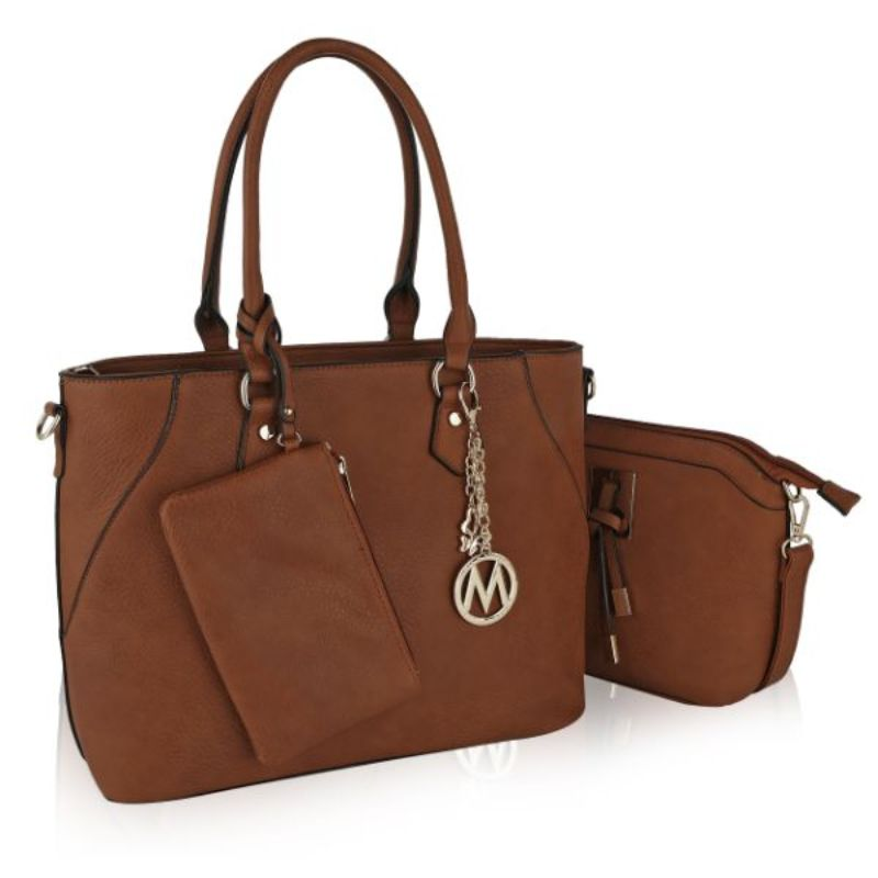 Gigi Tote Handbag with Matching Crossbody Bag and Wristlet by MKF-Brown-Daily Steals