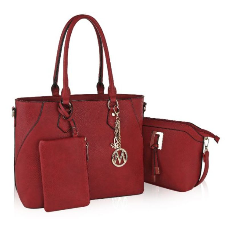Gigi Tote Handbag with Matching Crossbody Bag and Wristlet by MKF-Red-Daily Steals