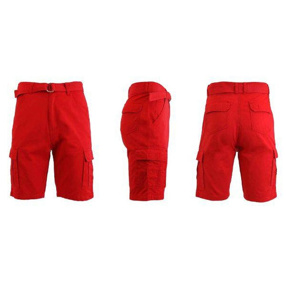 Men's Cotton Cargo Shorts with Tonal D-Ring Belt-Red-30-Daily Steals