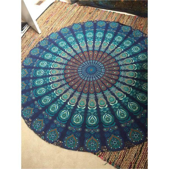 Round Printed Beach Blanket-Blue Pattern Print-Daily Steals