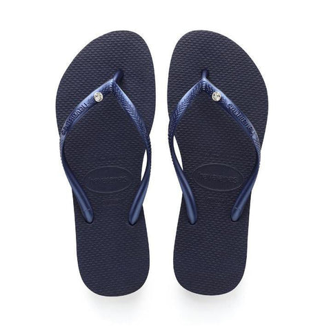 Daily Steals-Havaianas Slim Crystal Glamour Sw Navy Blue Rubber Sandal - 10 Womens / 9 Mens-Accessories-