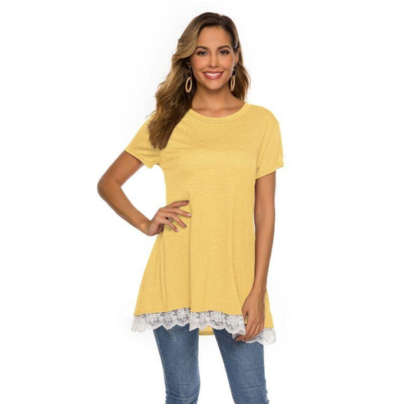 Women's Long Lace Trim Top by Lilly Posh-Mustard-3XL-Daily Steals